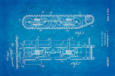 1944 Photograph - Bombardier Chain Tread Patent Art 1944 Blueprint by Ian Monk