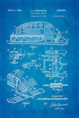 Snowmobile Photograph - Bombardier Chain Tread Vehicle Patent Art 1944 Blueprint by Ian Monk