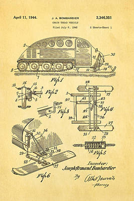 Bombardier Chain Tread Vehicle Patent Art 1944 Print by Ian Monk
