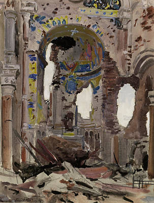 Interior Scene Painting - Bombed Out Interior Of Albert Church by Ernest Proctor