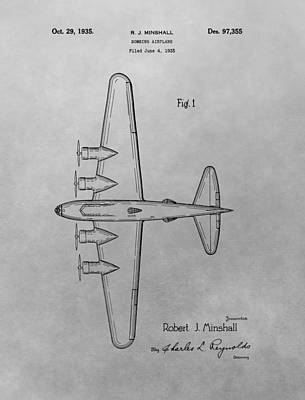 Airplane Drawing - Bombing Aircraft Patent Drawing by Dan Sproul