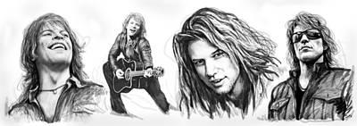 Jr Drawing - Bon Jovi Art Drawing Sktech Poster by Kim Wang