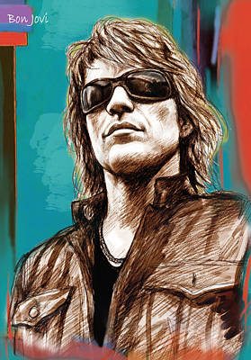 Bon Jovi Long Stylised Drawing Art Poster Print by Kim Wang