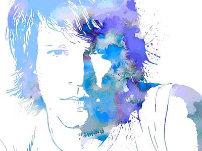 Bon Jovi Paint Splatter Portrait Print by Dan Sproul
