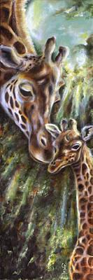 Baby Giraffe Painting - Bond by Hiroko Sakai