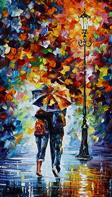 Surreal Painting - Bonded By Rain 2 by Leonid Afremov