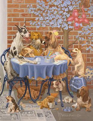 Golden Retriever Pop Art Painting - Bone Appetit Restaurant by Victor Powell