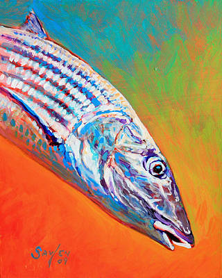 Flyfishing Painting - Bonefish Portrait by Savlen Art