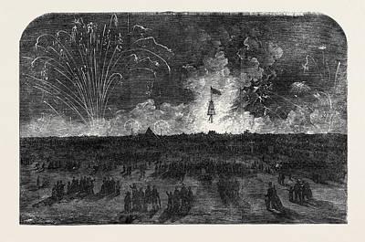 Fireworks Drawing - Bonfire And Fireworks On Blackheath by English School