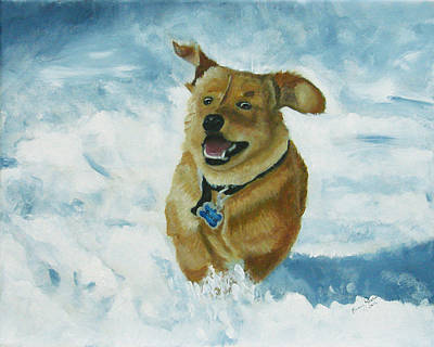 Bongo In The Snow Print by Frankie Picasso