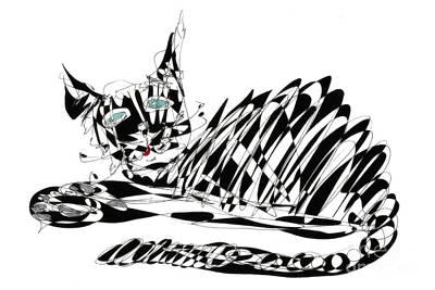 Cat Drawing - Bonifacy Cat by Justyna JBJart