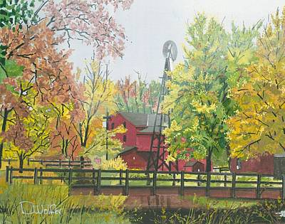 Abandoned Farm House Painting - Bonneyville Mill In Goshen Indiana  by David Wolfer