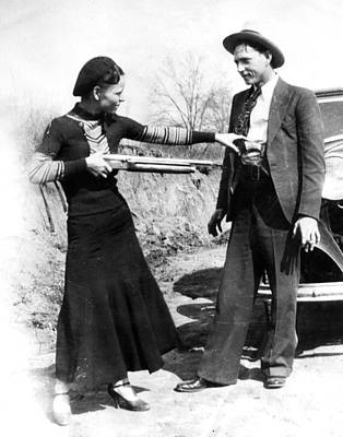 Gangster Photograph - Bonnie And Clyde by Retro Images Archive
