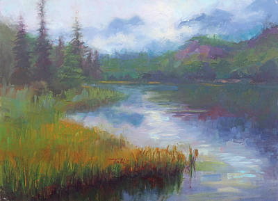 Moody Painting - Bonnie Lake - Alaska Misty Landscape by Talya Johnson
