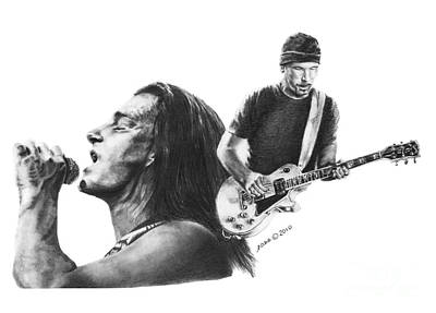U2 Drawing - Bono And The Edge by Marianne NANA Betts
