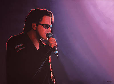 Found Painting - Bono U2 by Paul Meijering