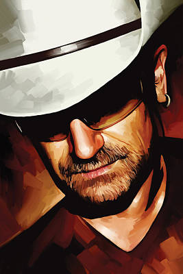 Bono Painting - Bono U2 Artwork 3 by Sheraz A