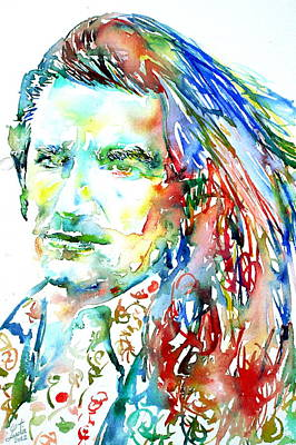 U2 Painting - Bono Watercolor Portrait.2 by Fabrizio Cassetta