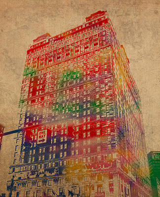 Book Cadillac Iconic Buildings Of Detroit Watercolor On Worn Canvas Series Number 3 Print by Design Turnpike