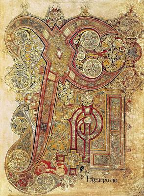 Illuminated Photograph - Book Of Kells. 8th-9th C. Chapter by Everett