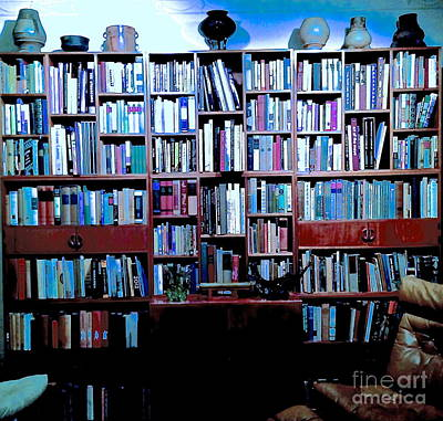 Bookcase Blue With Pots Original by Diane Phelps