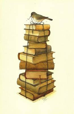 Greeting Drawing - Books And Little Bird by Kestutis Kasparavicius
