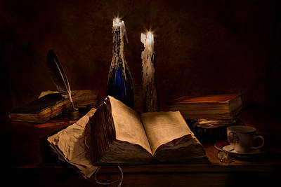 Books Candles And Coffee Cup Print by Mary Tomaino