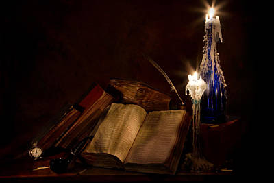 Books Candles And Proverbs Print by Mary Tomaino