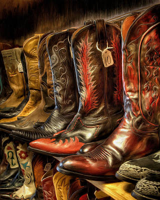 Cowboy Boots Painting - Boot Rack by Michael Pickett
