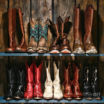 Cowgirl Photograph - Boot Rack by Olivier Le Queinec