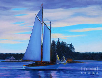 Boardroom Painting - Boothbay Harbor At Dusk by Rosemarie Morelli