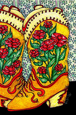 Boots Of Roses Print by Dede Shamel Davalos