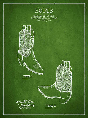 Old Boot Digital Art - Boots Patent From 1940 - Green by Aged Pixel