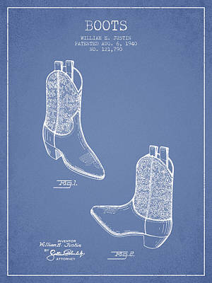 Old Boot Digital Art - Boots Patent From 1940 - Light Blue by Aged Pixel