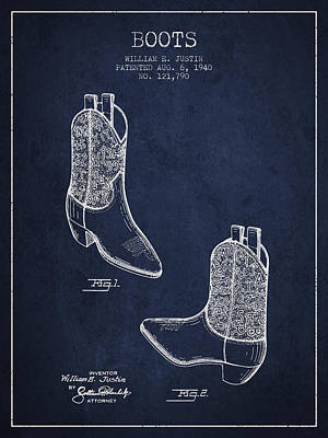 Old Boot Digital Art - Boots Patent From 1940 - Navy Blue by Aged Pixel