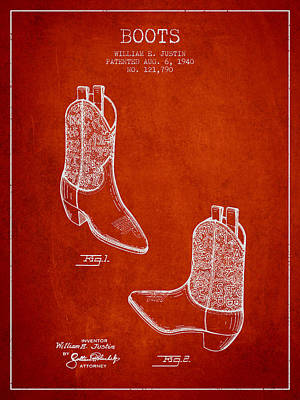 Old Boot Digital Art - Boots Patent From 1940 - Red by Aged Pixel