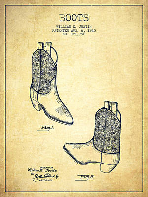 Old Boot Digital Art - Boots Patent From 1940 - Vintage by Aged Pixel