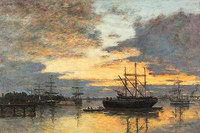 Calm Painting - Bordeaux In The Harbor by Eugene Louis Boudin