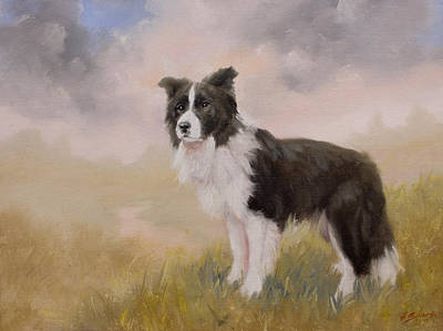 Charcoal Landscape Drawings Painting - Border Collie Portrait Iv by John Silver