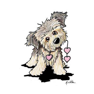 Kim Mixed Media - Border Terrier Heart Strings by Kim Niles