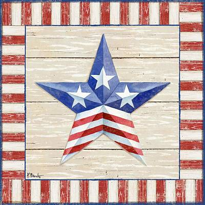 Bordered Patriotic Barn Star II Print by Paul Brent