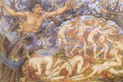 Boreas And Fallen Leaves Print by Evelyn De Morgan