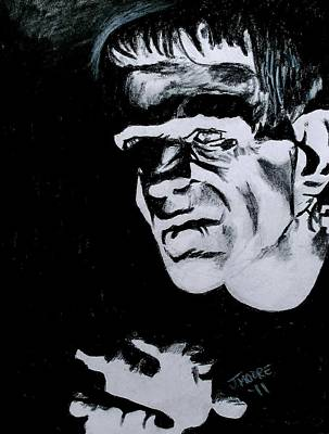 Frankenstein Drawing - Boris Karloff As The Monster by Jeremy Moore