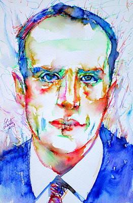 Boris Drawing - Boris Vian - Colored Pens Portrait by Fabrizio Cassetta