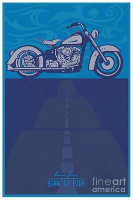 Man Cave Painting - Born Free Born To Ride by Sassan Filsoof