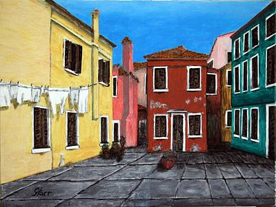 An Island Painting - Burano by Irving Starr