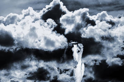 Borzoi Wolf Hound Emerging Through Mist And Clouds Print by Christian Lagereek