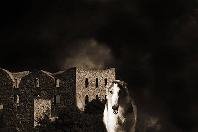 Borzoi Wolf Hound Hunting At Night Print by Christian Lagereek