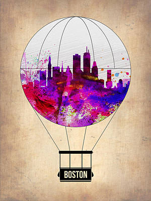 Boston Air Balloon Print by Naxart Studio