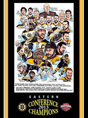 Hockey Drawing - Boston Bruins by Dave Olsen
